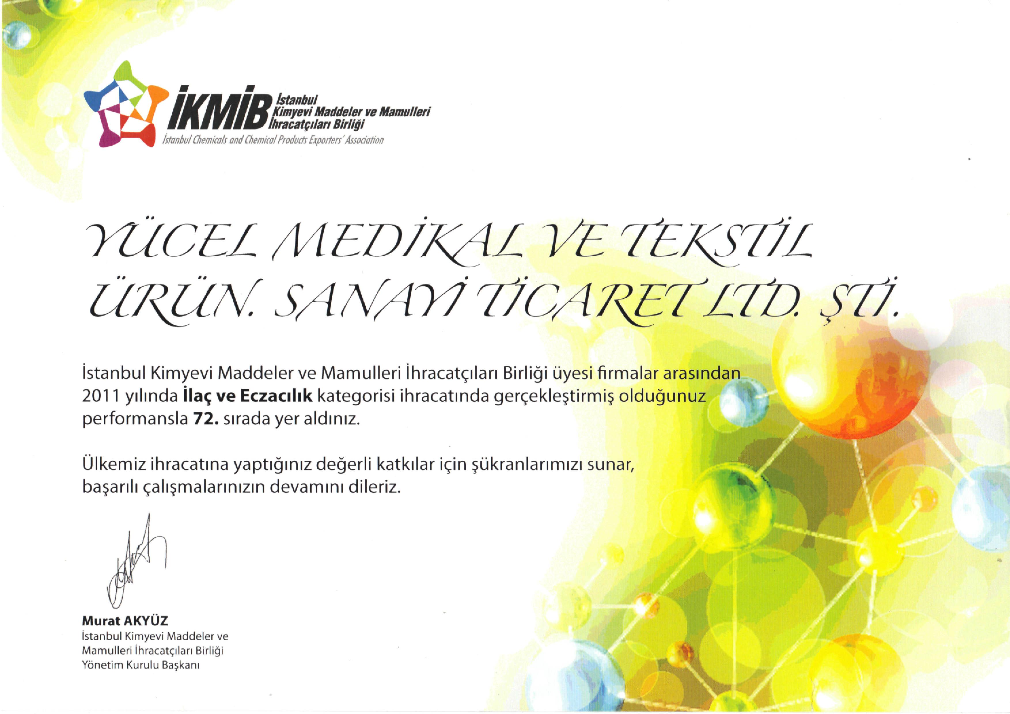 ihracatcilar-birligi-sira-odulu-yucel-medikal-istanbul