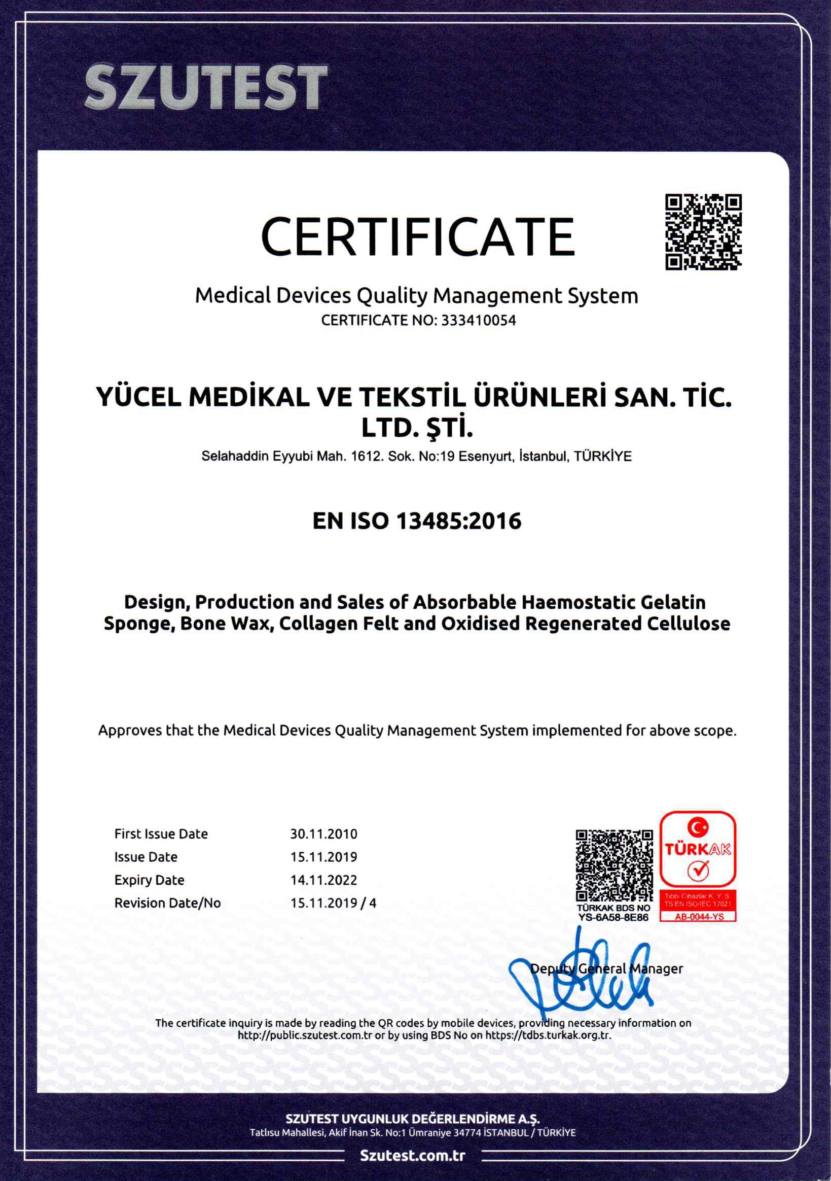 Yücel Medikal ISO ENG20191204