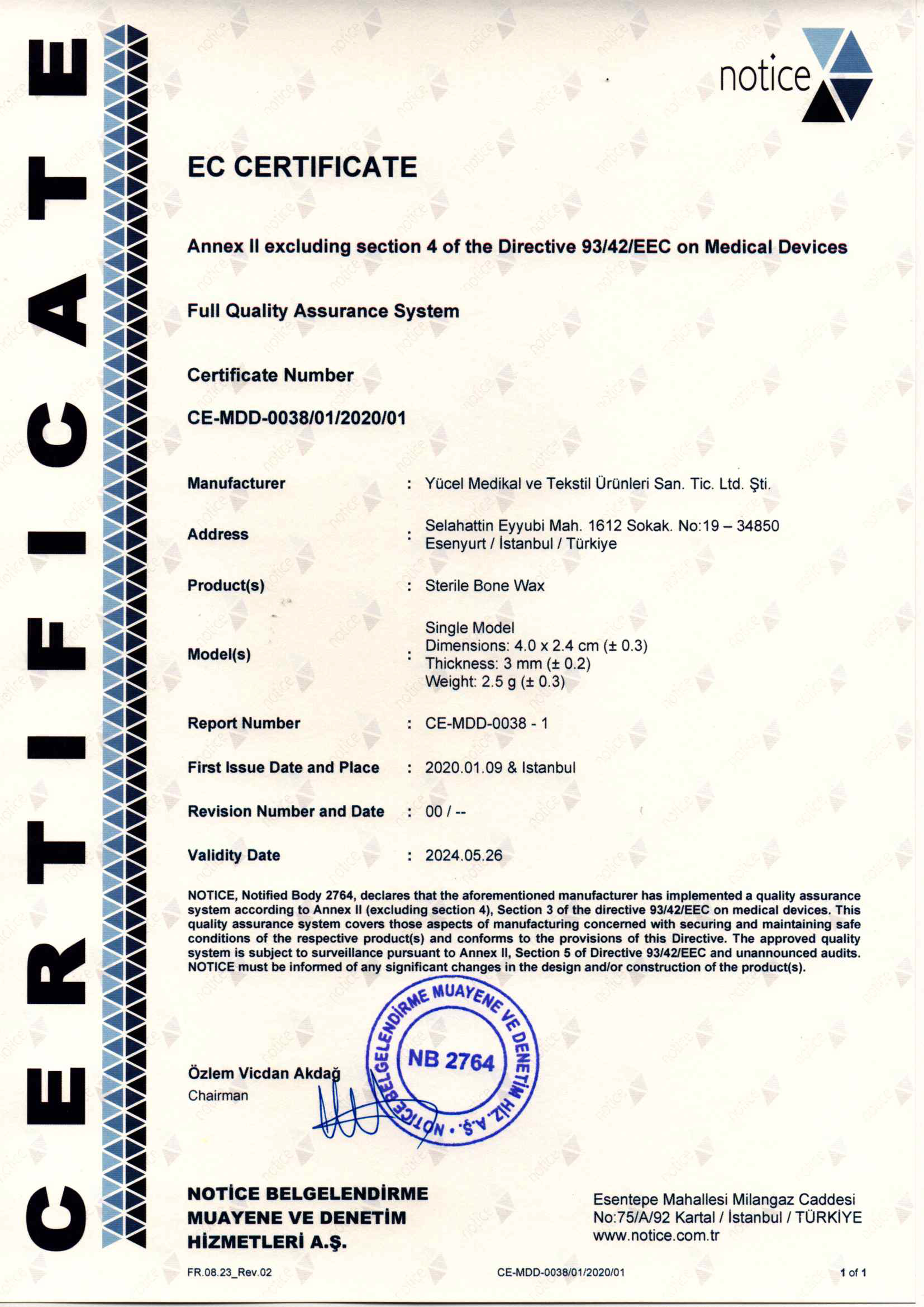 Bone Wax EC Certificate ENG20200123