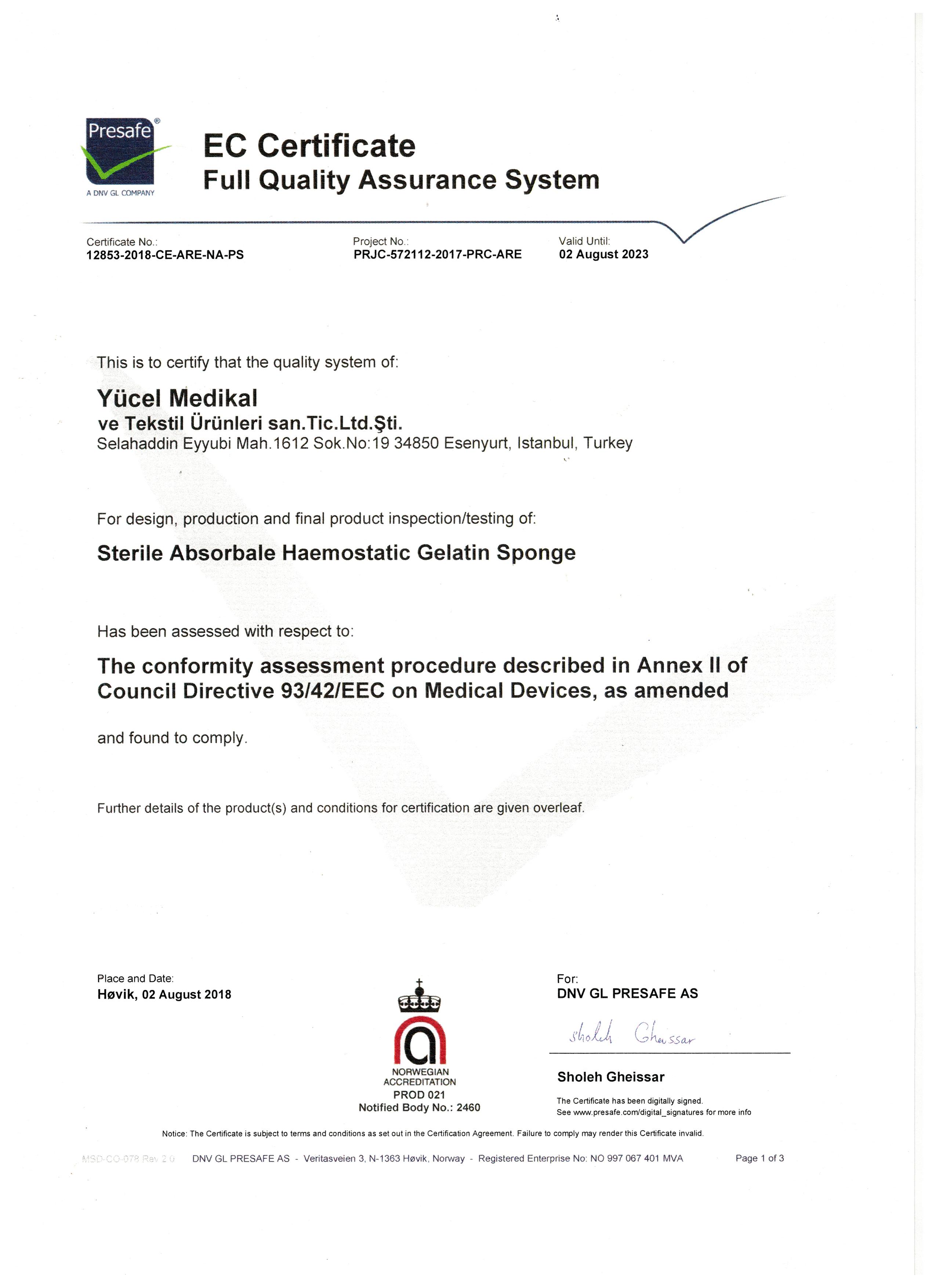 CLİNİSPONGE EC CERTİFİCATE FULL QALİTY ASSURANCE SYSTEM -1