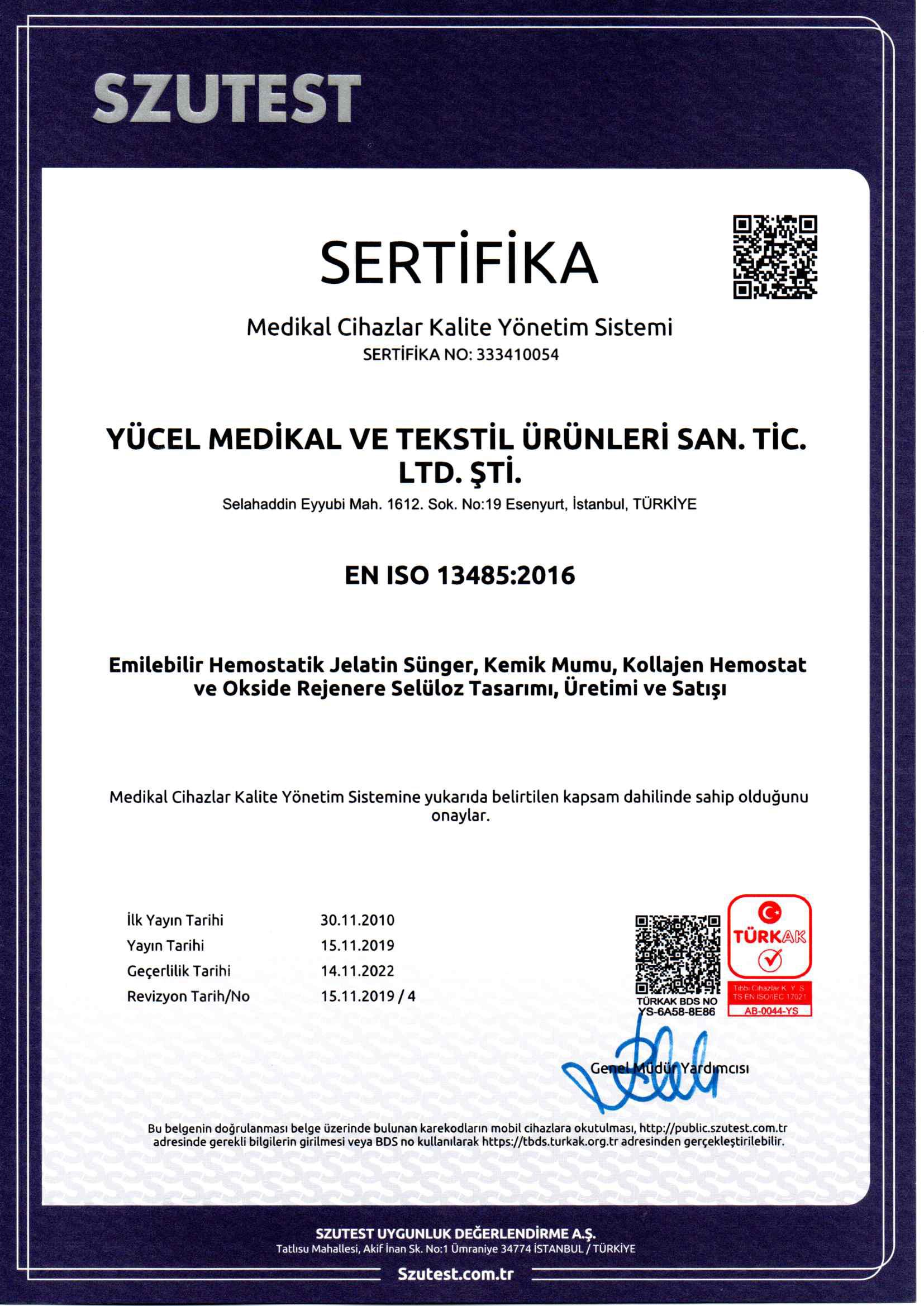 Yücel Medikal ISO TR20191204 tr