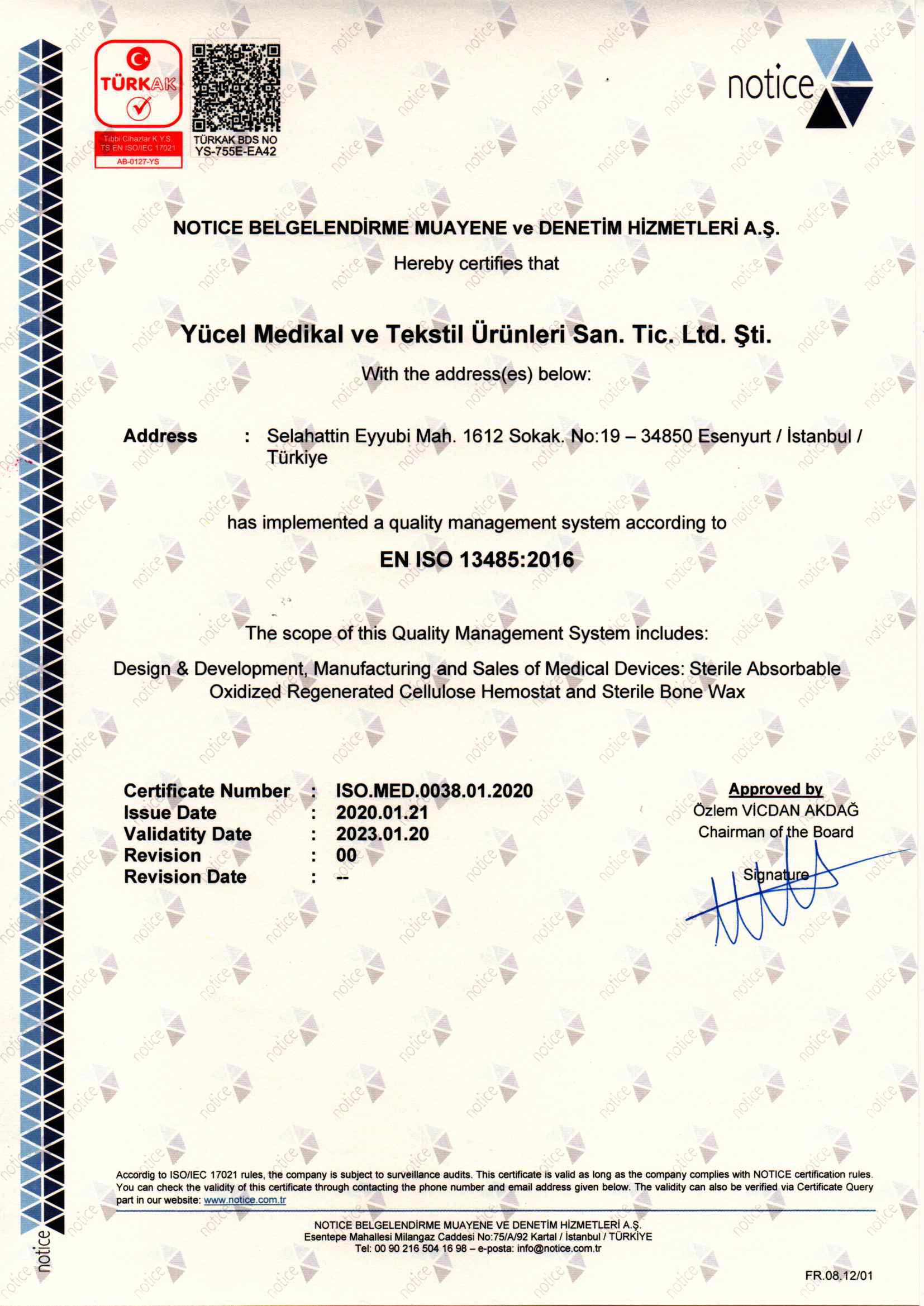 Notice ISO13485 Certificate ENG20200123